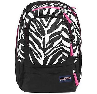 JANSPORT - Air Cure - Black White Pink Pansy Miss Zebra w/Laptop Sleeve BACKPACK Pink Miss Zebra