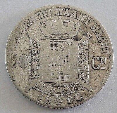===>>> 50 centimes 1898 50 cents  Leopold II  Belgique Belgïe FL <<<===