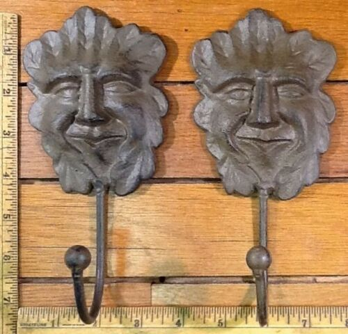 2 Old North Man COAT Hat Wall HOOKS hanger rustic cast iron style decor 7-1/2