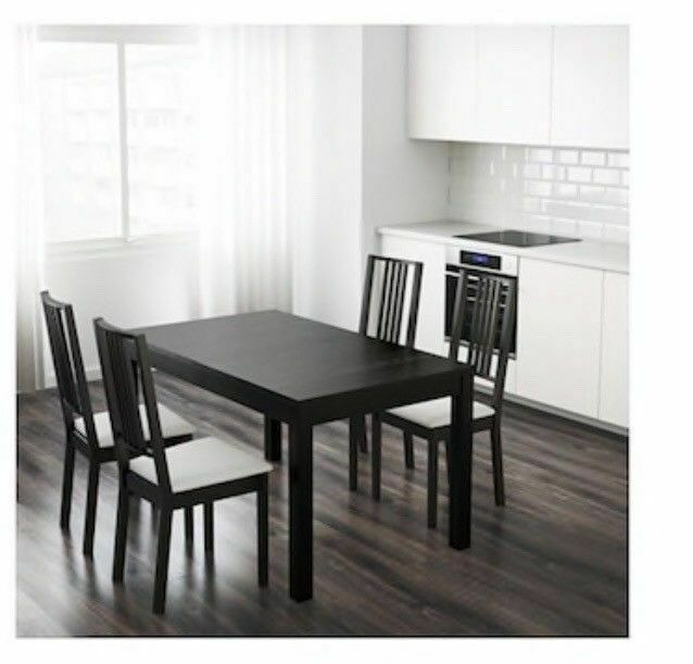 Ikea Extending Extendable Large Dining Black Table 4 Chairs Seats