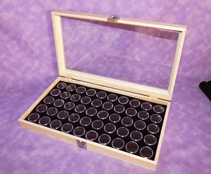 NATURAL WOOD GLASS TOP DISPLAY WITH 50 GEM JARS BLACK