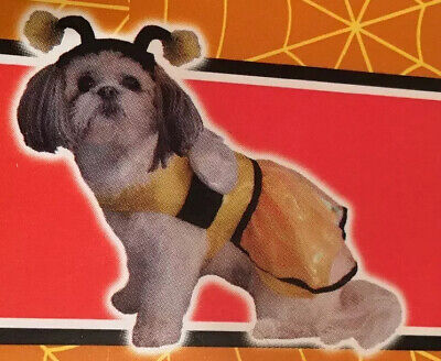 Bumblebee Dog Costume (Spooky Village Bumble Bee Pet Dog Costume XS, S, M Antenna Hat Dress)