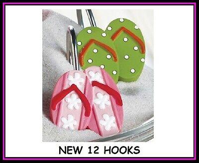 Sandals Flip Flop Shower Curtain Hooks Set 12 Ceramic Pink Cactus polka dot NEW  (Dot Shower Curtain Hooks)