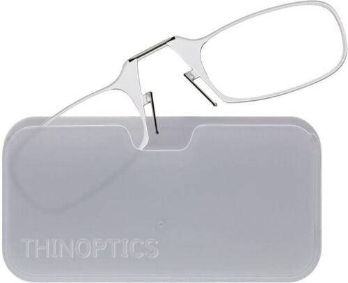 ThinOptics White Universal Pod Case 200 Clear Reading Glasses UPW20CLEARISR