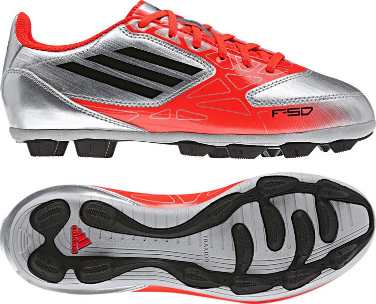 85e0c5b8d32b Adidas F5 TRX HG Silver Red Moulded Studs Boys Kids Football Boots Size  10-6 UK