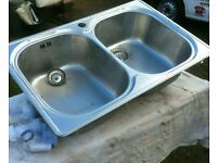 Stainless Double Sink Unit