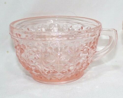 Jeanette Holiday/Buttons & Bows Tea/Punch Cup Pink Depression Glass