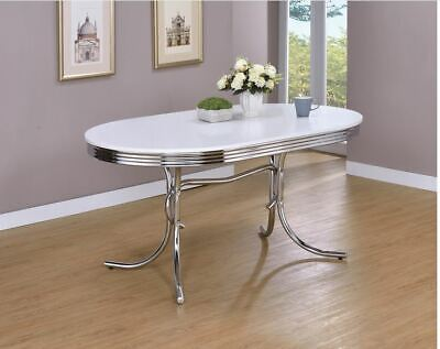 Dining Table for Small Space Retro Vintage Oval Chrome for K