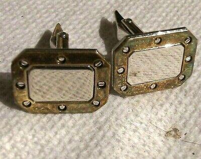 VINTAGE screw steampunk signed DB sterling silver DRESS geometric cuff links