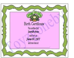 Cabbage patch doll names ebay for Cabbage patch birth certificate template