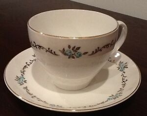 Gold and teale porcelain cup and saucers Made in England Windsor Region Ontario image 1
