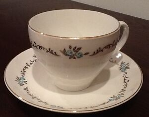 Antique English Gold/teale cup and saucer
