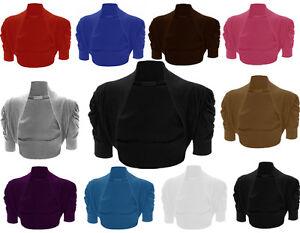 PLUS-Size-Coprispalle-Bolero-Manica-Increspato-raccolto-cardigan16-26