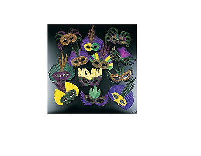 12 Feather Mardi Gras Masks Costume Party Masquarade, Assorted Mardi Gra Masks](Masquarade Costumes)