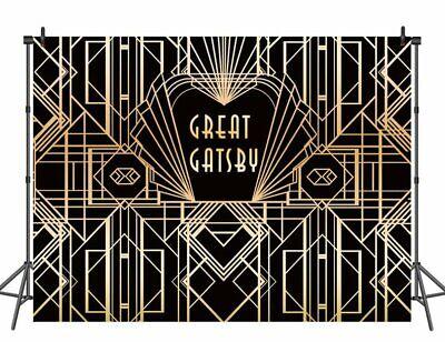 Great Gatsby Birthday (Great Gatsby Theme Custom Birthday Photography Backdrop Black And Gold)