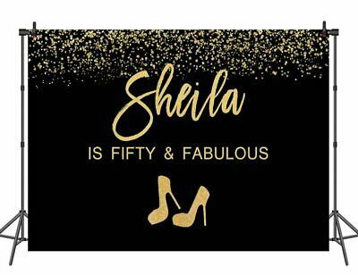 40th Birthday Backdrop (40th 50th 55th 60th Birthday Backdrop Black and Gold High Heels Photo)