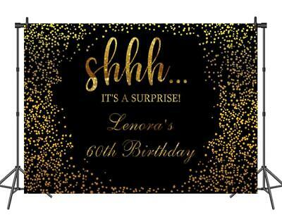 Custom 60th Birthday Backdrop Black and Gold Photo Background Gold Dots Banner