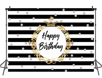 Happy Birthday Backdrop for Photography Black and White Striped Photo Background](Black And White Striped Backdrop)