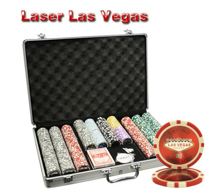 650pcs 14G LAS VEGAS LASER CASINO CLAY POKER CHIPS SET WITH ALUMINUM CASE