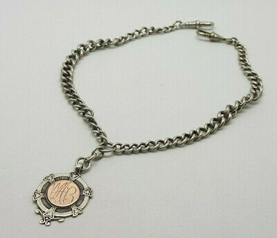 ANTIQUE SOLID SILVER DOUBLE ALBERT POCKET WATCH CHAIN WITH FOB 36.9 G.