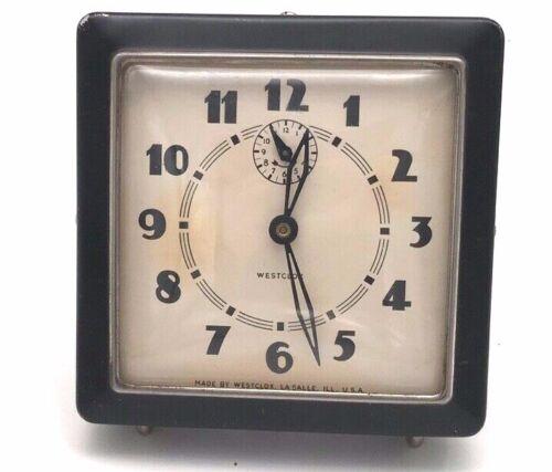 Vintage 1938 - 1942 Westclox Spur Style 1 Black  Alarm Clock