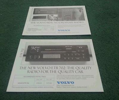 1988 VOLVO RDS RADIO + ETR 702 RADIO LEAFLETS BROCHURE 240 340 360 480 740 760