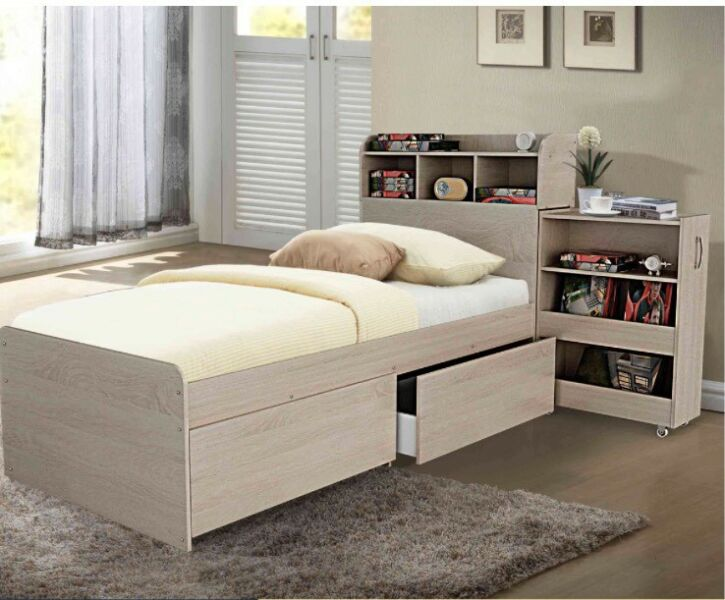 King Single Bed With Storage Drawers And Pullout Cabinet New