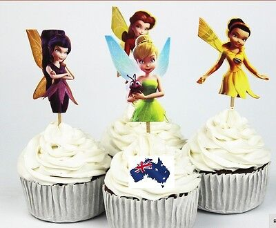 ll Fairies CUPCAKE CAKE TOPPERS Children Birthday Party Deco (Tinkerbell Cupcake Toppers)