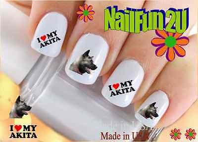 "RTG Set#104 DOG BREED ""Akita I Love"" WaterSlide Decals Nail Art Transfers Salon"