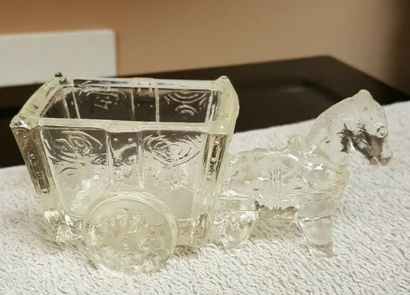 Vintage Clear Pressed Glass Donkey HORSE & Cart Candy TOOTHPICK  Dish
