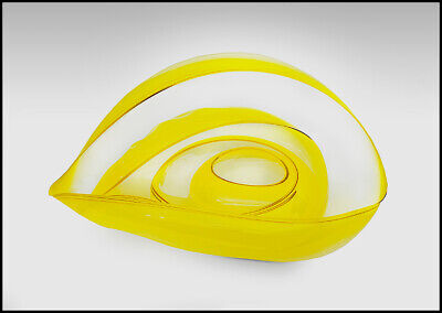 Dale Chihuly Original 4 Piece Basket Set Hand Blown Glass Yellow Gold Art Signed for sale  Shipping to Canada