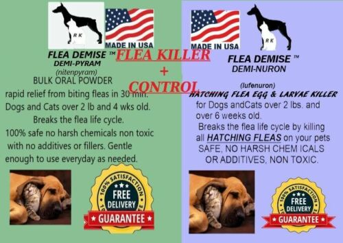 Instant Flea Killer 416 doses + monthly hatching flea killer Dog Cat up to 25lb