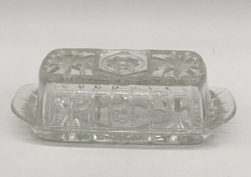 VTG Anchor Hocking Clear Glass Butter Dish With Lid 7 X 3.5 In
