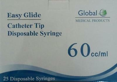 Easy Glide 60ml Catheter Tip Syringes - No Needle - Pack Of 25