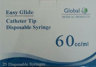 50-60cc 2oz Catheter Tip Easy Glide Syringes 60ml New Syringe Only No Needle