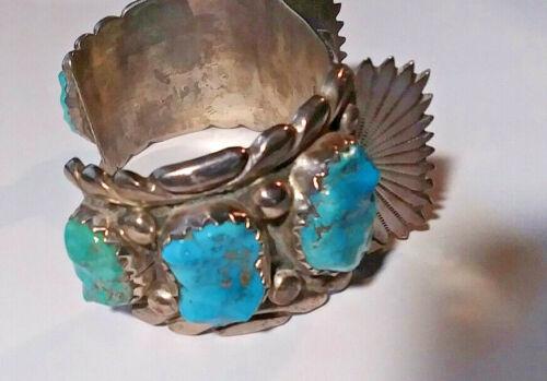 Vintage Zuni Turquoise Watch Cuff Native American Indian Artist Signed Leekya