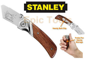 STANLEY-Wooden-Grip-Folding-Stainless-Trimming-Work-Knife-010073-NO-BLADES