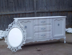 FRENCH PROVINCIAL LARGE DRESSER & MIRROR - WINTER WHITE