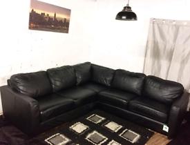 ••• Black Real leather corner sofa