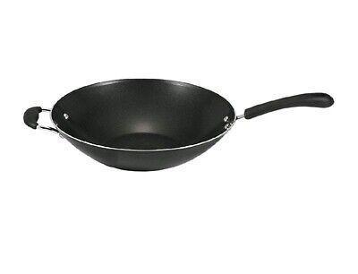 Non Stick Wok Stir Fry Frying Pan 14 Inch Asian Chinese Cookware Flat Bottom NEW ()