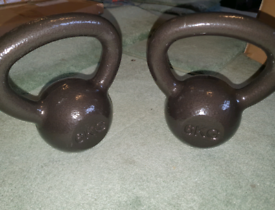 2 x 6kg brand new cast iron kettlebells, hand weights, fitness gym equ