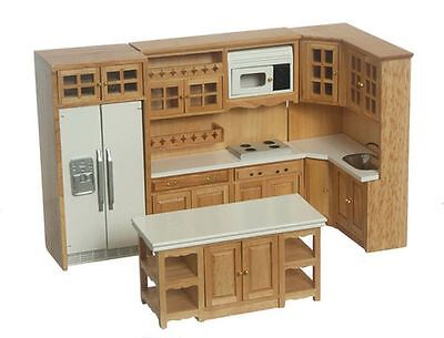 Dollhouse Miniature 1:12 Scale Complete 8 Piece Kitchen Furniture Set in Oak