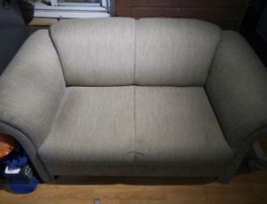 Brown Fabric Loveseat
