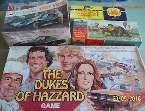 Vintage Model Boxes - Dukes of Hazzard Game Board Etc.