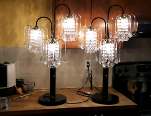 """Mint cond 2x34"""" acrylic crystal chandelier accent table lamp"""