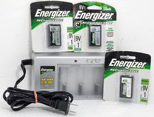 Energizer Battery Charger w/3 brand new 9V rechargeable battery