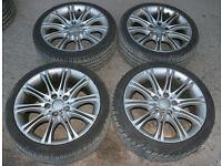 "BMW Replica MV2 18"" Alloy Wheels VGC Tyres 5x120 E36 E46 E90 318i 316i 320d 325i 330i 330d 328 Sport"
