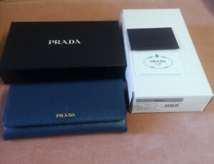Prada Saffiano Leather Blue Long Wallet 1MH132 NWT IN BOX