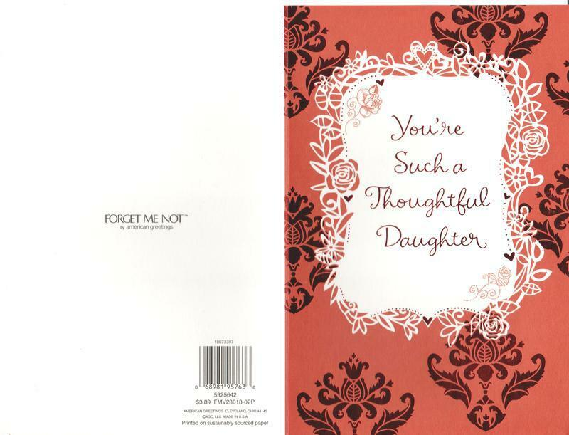 Valentine s Day Card Form FORGET ME NOT You re Such A Thoughtful Daughter - $2.89