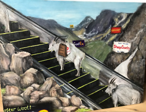 Goats on Escalator Orignal Satire Acrylic on Canvas